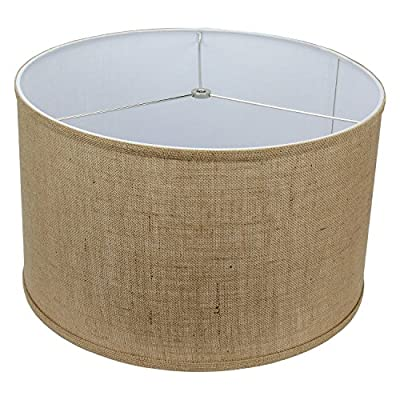 "FenchelShades.com 18"" Top Diameter x 18"" Bottom Diameter 12"" Height Cylinder Drum Lampshade USA Made (Burlap Natural)"