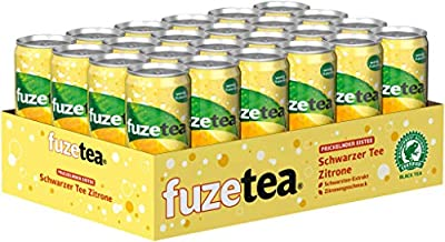 Fuze Tea Prickelnder Eistee Schwarzer Tee Zitrone, 24er Pack (24 x 330 ml)