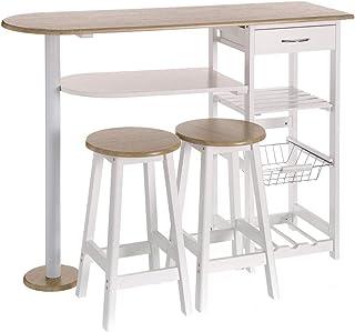 Mesa para cocina de bar moderna de madera blanca Basic -