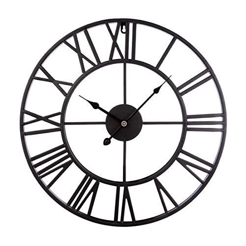 CT-Tribe Reloj de Pared Moderno, 47cm Hierro Reloj Moderno Decoración Adorno para Hogar Habitación - Negro