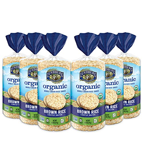 Lundberg Organic Whole Grain Rice Cakes, Brown Rice, Lightly Salted, Gluten-Free, Vegan, USDA Certified Organic, Non-GMO Verified, Kosher, 8.5oz (6 Count)