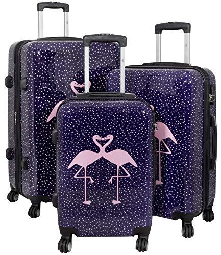 Trendyshop365 buntes Hartschalen Koffer-Set 3-teilig - Flamingo Motiv - 4 Rollen Tiermotiv