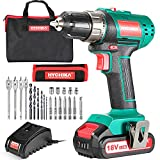 <span class='highlight'>Cordless</span> Drill <span class='highlight'>18V</span>/20V, <span class='highlight'>HYCHIKA</span> Electric Drill <span class='highlight'>with</span> 2000mAh Li-Ion Battery, 35N·m and 21 1 Torque Setting, 10mm Chuck, 2 Variable Speed, 22PCS Accessories and Carrying Case