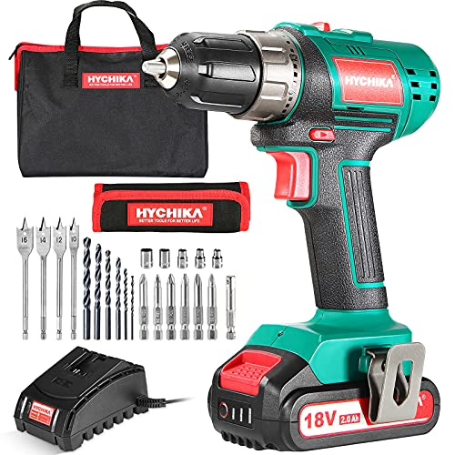 Cordless Drill 18V/20V, HYCHIKA Electric Drill with 2000mAh Li-Ion Battery, 35N·m and 21+1 Torque Setting, 10mm Chuck, 2 Variable Speed, 22PCS Accessories and Carrying Case