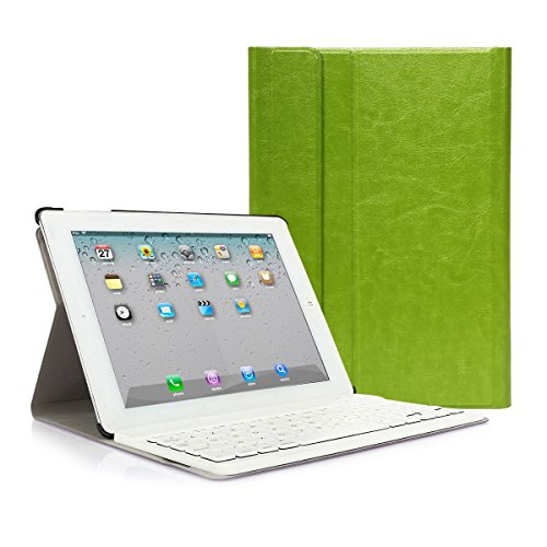 CoastaCloud iPad 2 3 4 Funda con Teclado Bluetooth iPad 2/3/4 Funda Cubierta Protectora con Teclado Inalambrico QWERTY Español (Verde)