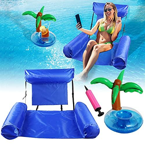 Faffooz Fila Flotante Inflable, Sillón reclinable Inflable de Agua Hamaca de Agua Inflable para Piscina de Adultos Utilizado para Jugar en el Parque acuático(Azul 100*120cm)