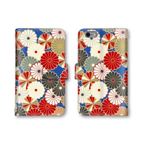 【ノーブランド品】 iphone8 Plus スマホケース 手帳型 菊柄 花 和柄 着物柄 ブルー かわいい おしゃれ 携帯カバー アイフォン8 プラス ケース