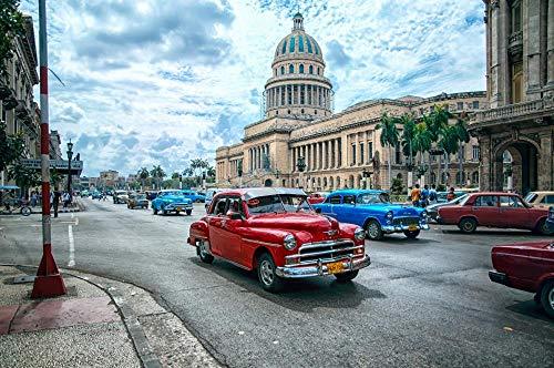 Decorsy Rompecabezas Puzzle 1000 Piezas Adultos La Habana Cuba Coche Clásico Arquitectura Clásica Colección Moderna De Decoración del Hogar