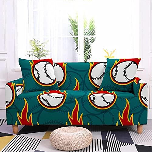 Fundas para Sofa 3 Plazas Funda de Sofa Elastica Cubre Sofa Cubresofá Funda Cubierta para sofá Ajustable Protector Lavable Funda de sillón para sofá 175-220cm, Deportes de béisbol Verde