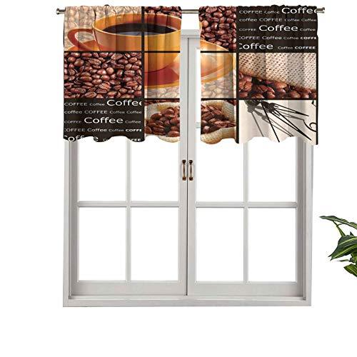 Hiiiman Cenefa recta, panel de cortina de alta calidad, diseño de collage con copa de naranja, juego de 2, 42 x 36 pulgadas, ideal para cualquier habitación y dormitorio