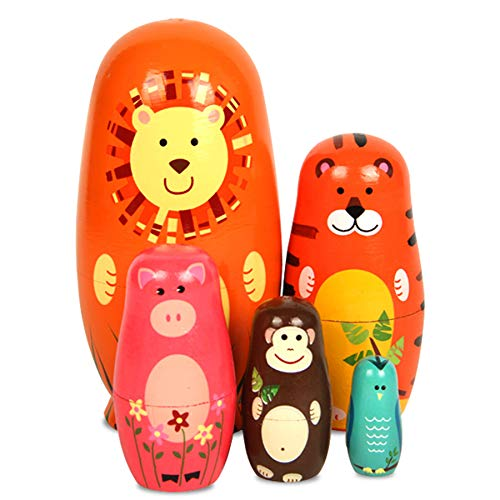 Maxshop 5 Pieces 6' Tall Cute Nesting Dolls - Handmade Wooden Different Pattern Small Items - Matryoshka Doll Handmade Wooden Dolls Cartoon Animals Pattern Toy Gift