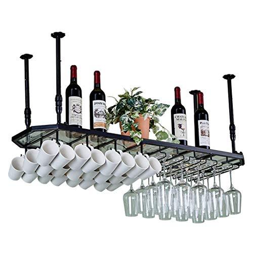 Ayanxa Glaspaneel Stemware Racks, Deckenmontage hängen Weinflasche, Becher, Becher Speicherorganisator Einheit schwimmende Regale Bars Küche D & Eacute; COR - Höhenverstellbar