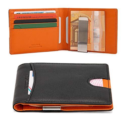 neropantera - Schlanke Design-Tasche, Kreditkarten- und Banknotenhalter aus echtem Leder, RFID mit Kartenhalter - Senigallia