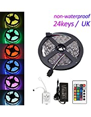 Festnight LEDs Strip Light Set with IR Remote Flexible Cuttable Self-adhesive LEDs Strips IP65 Water Resistance for Home Party Decoration Restaurant KTV Club Adapter and Controller Included