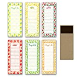 6 Magnetic Notepads - Fruit Frenzy - 6 Different Designs on 3.5' x 9' Pads