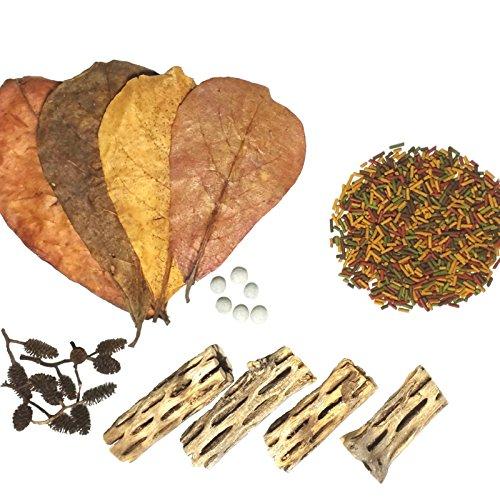 Aquatic Foods Inc. Freshwater Shrimp 15-Piece Starter Kits, Including Shrimp Food, Cholla Wood, Alder Cones and Japanese Mineral Balls