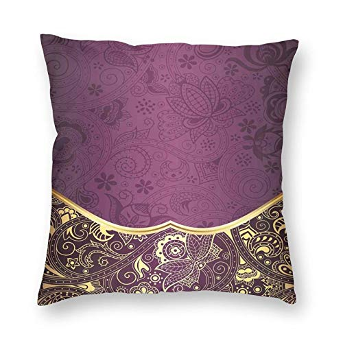 niBBuns Throw Pillow Covers Decorative,Oriental and Abstract Swirly Floral Frame Artistic Vintage,Square Pillow Cover Case Cushion Pillowcase 12x12 Inches for Home Decor Sofa Bedroom Car