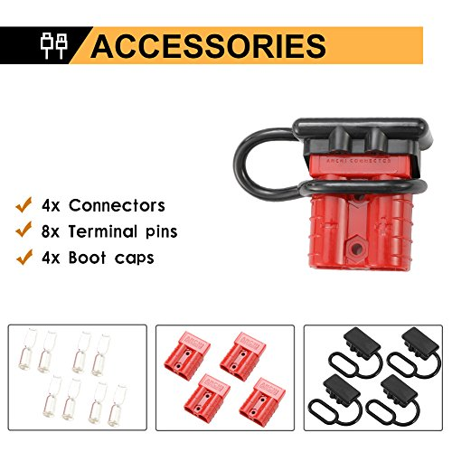 BUNKER INDUST 50A 6-10 Gauge Battery Quick Connect Disconnect Wire Harness Plug Kit 4 Pcs Battery Cable Quick Connect…