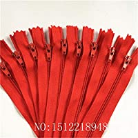 SYBH テーラーミシンのためのナイロンコイルジッパー(7.5cm-60cm)ナイロンジッパーバルク20色 (Color : Red, Size : 40cm)