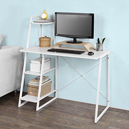 SoBuy® FWT29-W Computertisch Sekretär Tischarbeitsplatte mit 3 Regalen Metallrahmen - Weiß