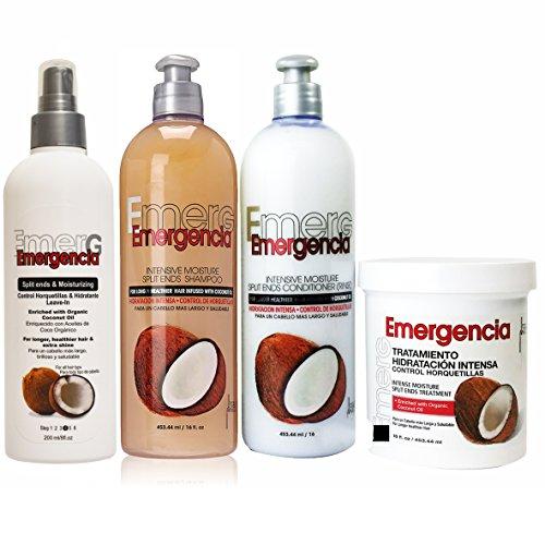 Toque Magico Emergencia Set 4 pack Coconut Shampoo, Rinse, Treatment, Leave-In