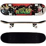 FunTomia® Skateboard monopatín rodamientos ABEC-11 y Rodillos de dureza 92A - Hecho con 9 Capas de Madera de Arce (Angel)