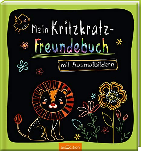 Mein Kritzkratz-Freundebuch mit Ausmalbildern: Freundebuch mit Kritzkratz-Flächen zum kreativen Gestalten für Kinder ab 5 Jahren