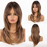 HAIRCUBE Pelucas de mujer color marrón largas con pelucas sintéticas de longitud de hombro para mujeres con pelucas de cabello raíz negra para mujeres