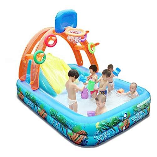 Centro de juegos inflable Time para niños, centro de juegos inflable con tobogán para niños, jardín, exteriores, patio, verano, diversión acuática, 74 x 53 x 13 pulgadas