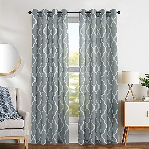 jinchan Moroccan Tile Design Linen Curtain Textured Lattice Grommet Top Window Panels/Drapes for Bedroom/Living Room Window/Patio Door, (Set of 2, 50 inch x 95 inch, Charcoal Grey)