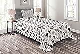 ABAKUHAUS Hahn Tagesdecke Set, Hähnchen Huhn Geflügel, Set mit Kissenbezügen Sommerdecke, 170 x 220 cm, Charcoal Grey Pale Mauve