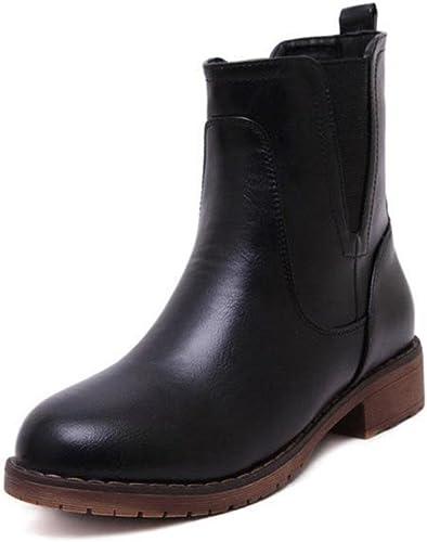 KUKI botas de mujer, zapatos de mujer, tubo corto, tendón en el extremo, áspero con, botas planas, cortas, botas Martin, modelos salvajes, moda, ocio
