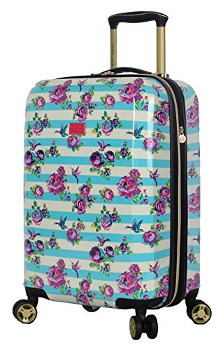 Betsey Johnson Designer 20 Inch Carry On - Expandable (ABS + PC) Hardside Luggage - Lightweight Durable Suitcase With 8-Rolling Spinner Wheels for Women (Stripe Floral Hummingbird)