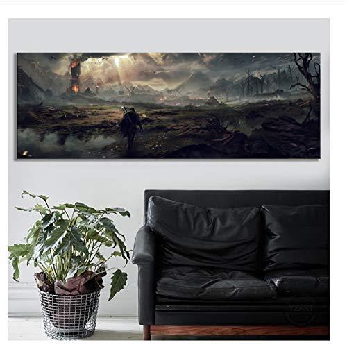 Suuyar Der Herr der Ringe Filmplakat Wandkunst Mittelerde Schatten von Mordor Videospiele Kunst Wanddekor Malerei Leinwand Malerei -40x120cm Kein Rahmen