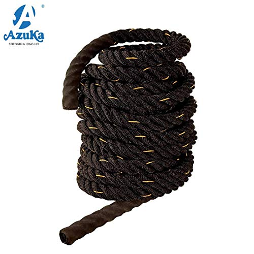 AZUKA® Ultimate Fitness Strength Training Battle Rope1.5inch 50ft (Black Yellow) + Free Surprise Poster Inside