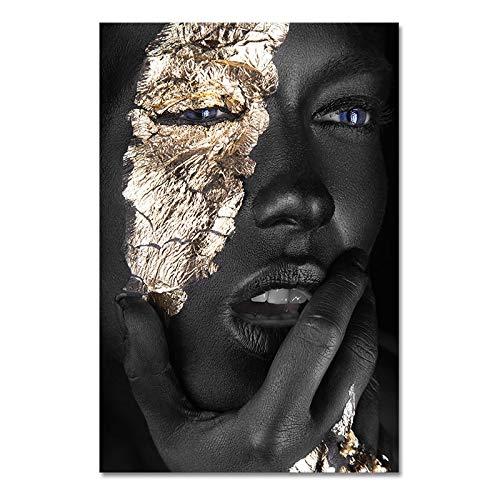 Art africain noir et or femme peinture à l'huile sur toile Cuadros Affiches et impressions Scandinave Art Art Art pour le salon Toile (Color : PA1516, Size (Inch) : 60x90cm no frame)