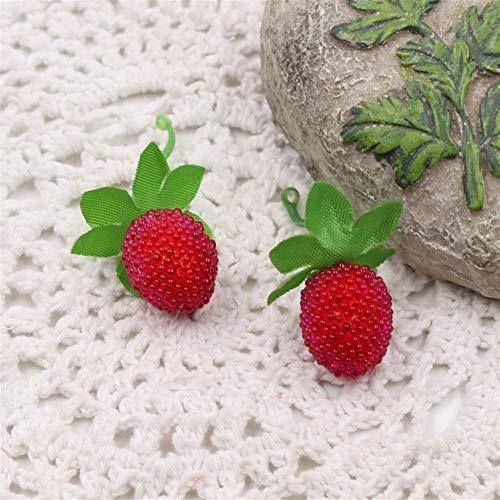 Kunstblumen 10 stücke Günstige Gefälschte Obst Glas Erdbeere Weihnachten Rote Kirsche Staubblatt Mini Beeren Künstliche Blume Pearlized Hochzeitsdekoration Grünpflanzen (Color : Red)