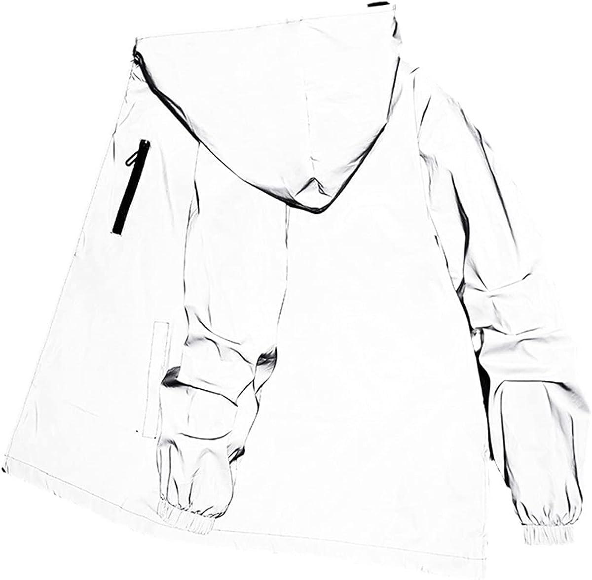 Men's Reflective Jacket Women's Windbreaker Casual Hip-Hop Hooded Jacket Streetwear Luminous Jacket