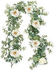 造花 バラ 花藤 人工観葉植物 ユーカリ ガーランド アーティフィシャルフラワー 花園 婚礼の儀式 フェイクグリーン リアル 壁掛け ハンギング 吊す 装飾 185cm