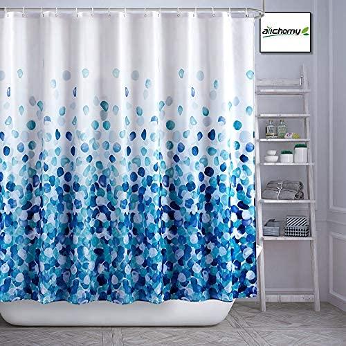 Cortina de ducha para casa de campo, juego de cortinas de baño de tela de otoño a prueba de agua, colorido divertido con tamaño estándar 72 por 72 (azul)