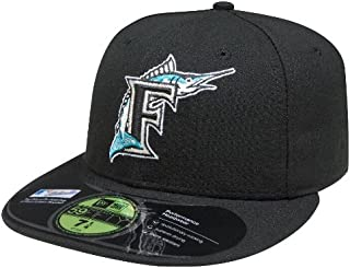 New Era Florida Marlins Black Game F On Field Fitted Hat Cap