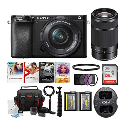 Sony Alpha a6100 APS-C Mirrorless Interchangeable-Lens Camera with 16-50mm and 55-210 Lens Bundle (9 Items)