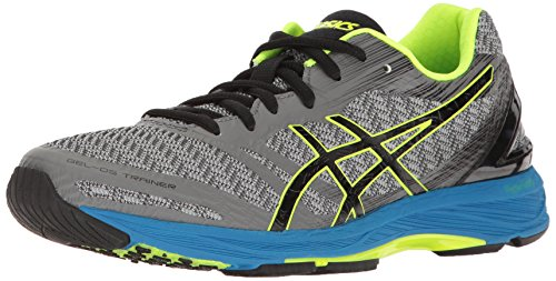 ASICS Men's Gel-DS Trainer 22 Running Shoe, Carbon/Black/Safety Yellow, 8.5 M US
