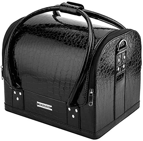AMASAVA Beauty Case Cofanetto Trucco,Borsa Cosmetici,4 in 1 Make Up Bagaglio a mano in pelle PVC, Borsa Cosmetici con Nail Box,29 x 24 x 24 cm(nero)