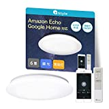 【Amazon Alexa認定】+Style スマートLEDシーリングライト 6畳 3200lm 昼光色 調光 リモコン付き 常夜灯 日本メーカー製 Amazon Alexa/Google Home 対応