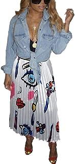 XINHEO Womens Skater Skirt Various Colors Waistband Stretchy Pencil Skirt