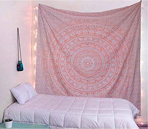 Tapiz de oro rosa para colgar en la pared, mandala, decoración de habitación bohemia, tapices hippies de algodón indio, ropa de cama bohemia, colcha de reina