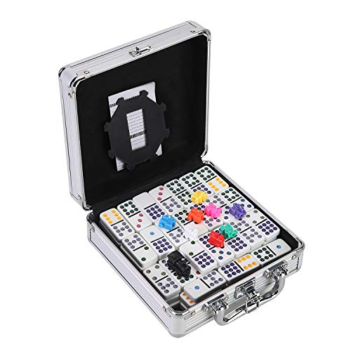 Ksamor Dominoes Set – 91 Tiles Mexican Train Dominoes Double 12, Colored Dot Twelve Dominoes Set Well Painted with Aluminum Case for Kids and Families