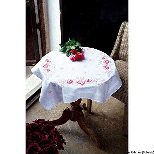 Vervaco roze rozen borduurpak/tafelkleed in voorgedrukt/voorgetekende kruissteek, katoen, meerkleurig, 80 x 80 x 0,3 cm