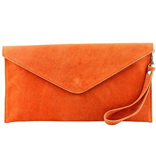 modamoda de - ital embrague/noche bolsa de gamuza T106, Color:naranja